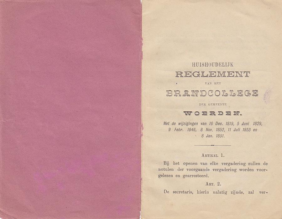 Huishoudelijk reglement 1891 art. 1 en 2