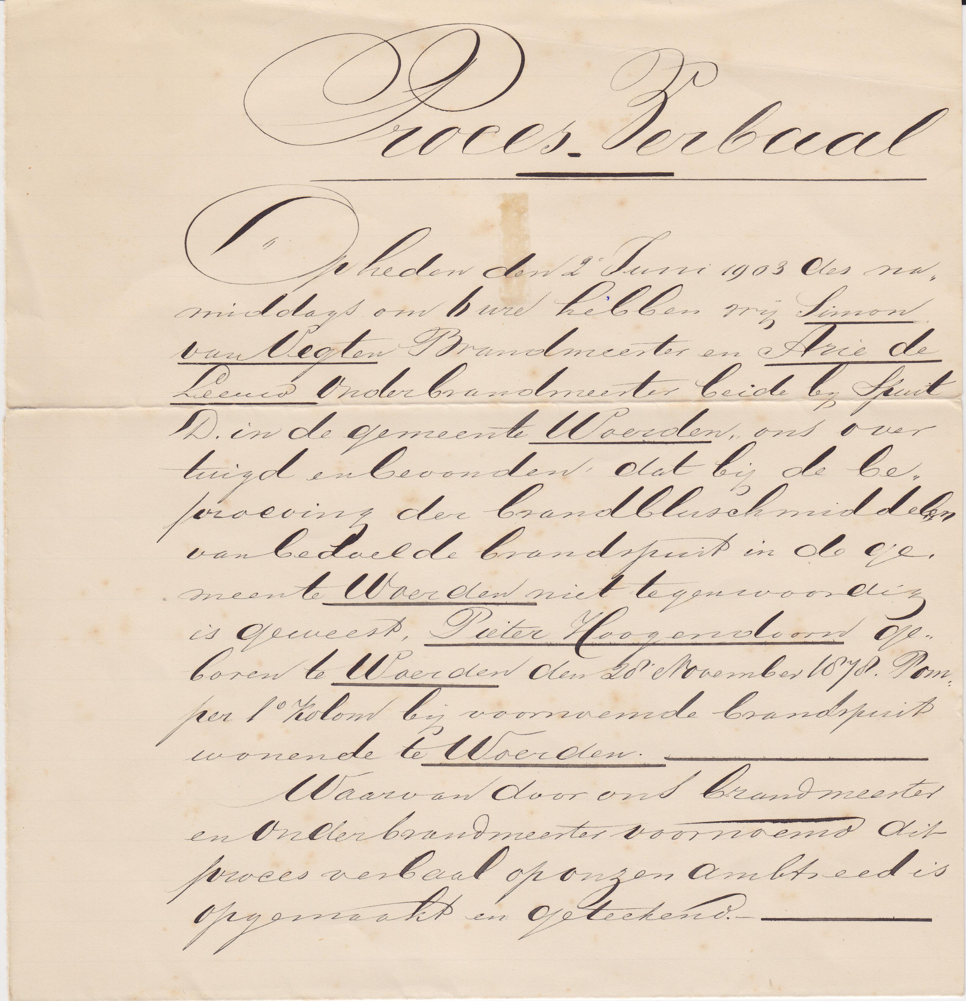 1a Proces Verbaal 2 juni 1903