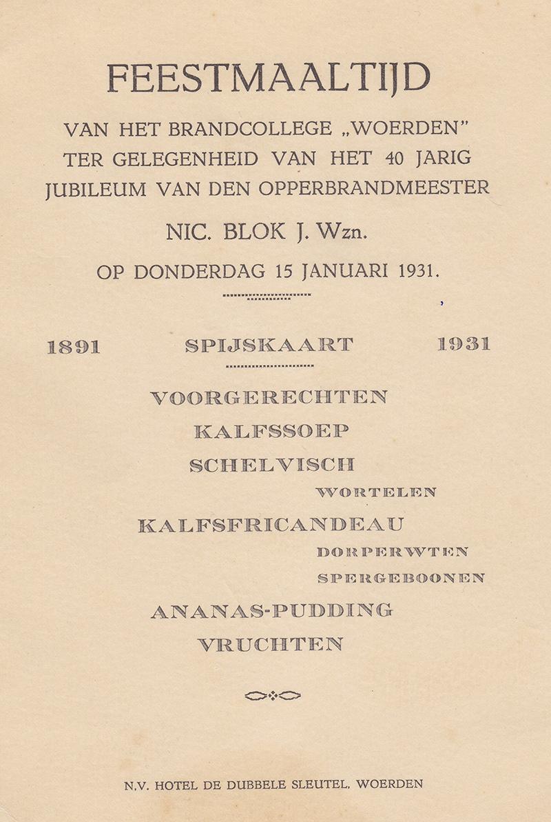 menukaart jubileum Nic. Blok